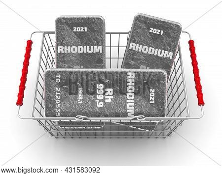 Buying Rhodium Ingots. There Are Three Ingots Of 999.9 Fine Rhodium In The Grocery Basket. 3d Illust