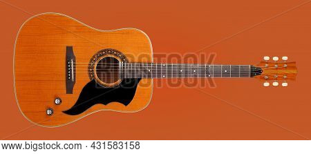 Musical Instrument - Front View Very Rare Vintage Acoustic Guitar Folk Country Isolated On A Orange