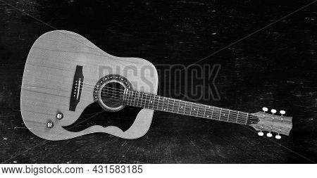 Musical Instrument - Front View Very Rare Vintage Acoustic Guitar Folk Country Monochrome Vintage Ba
