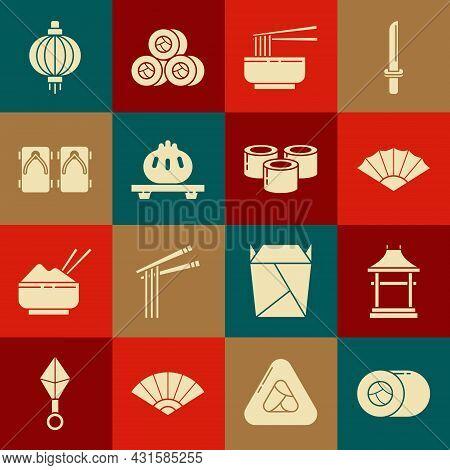 Set Sushi, Japan Gate, Paper Chinese Or Japanese Folding Fan, Asian Noodles Bowl And Chopsticks, Dum