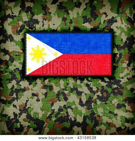 Amy camouflage uniform with flag on it phillipines poster