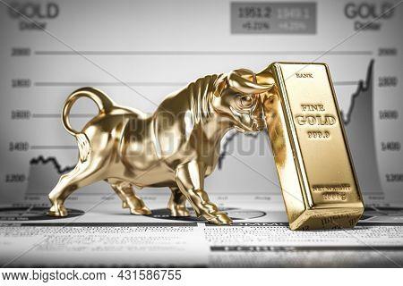 Golden ingot and bull on graph.  Bull market trend in gold. 3d illustration
