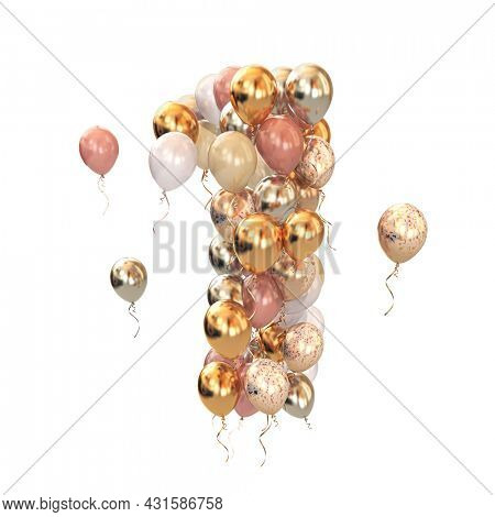 Baloon bunch in form of number 1 one isolated on white. Text letter for age, holiday, birthday, celebration. 3d illustration