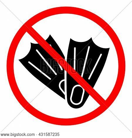 Flippers Ban Icon. No Flippers Sign. Flippers Is Prohibited. Stop Or Ban Red Round Vector Sign. Flip