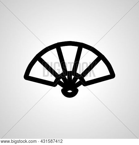 Hand Fan Line Icon. Hand Fan Isolated Simple Vector Icon