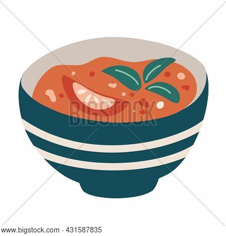 Tomato Soup. Hot Vegetable Soup In Plate. Hand Draw Traditional Spanish Tomato Soup Gazpacho. Classi