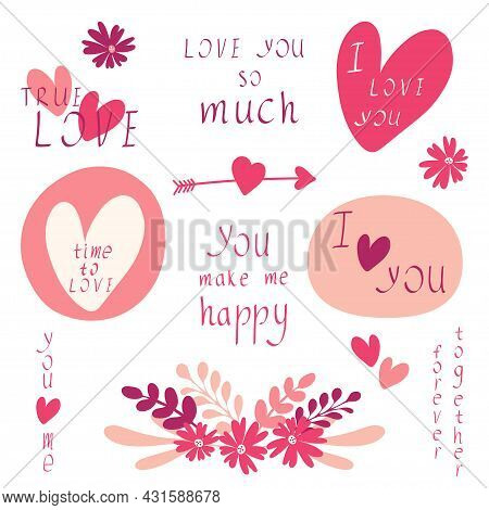 Romantic Love You Lettering Calligraphy Hand Draw Written Set. I Love You Phrases. Love Expressions.