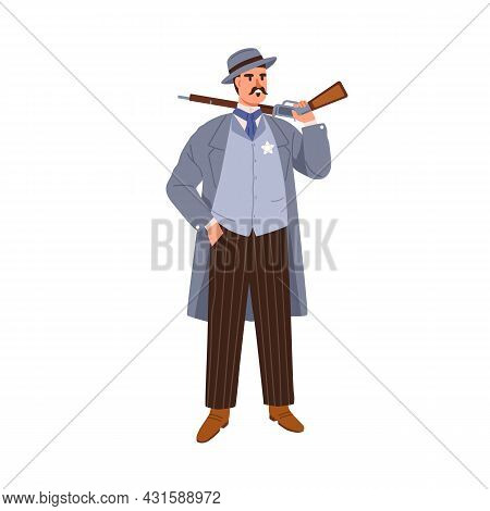 Western Police Man With Gun. American Gunman In Hat And Elegant Vintage Clothes. Noble Person Standi