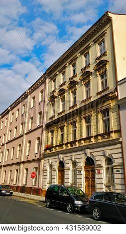 Prague, Czech Republic - August 24, 2021: Old Municipal Dwelling Buildings In Prague's Karlin Distri