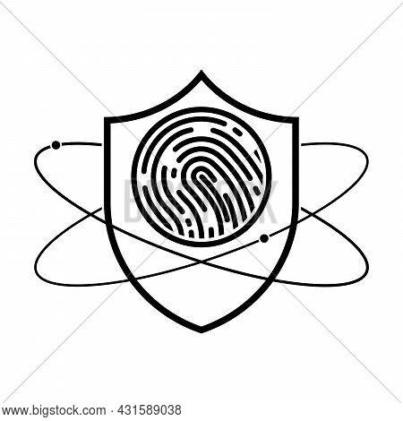 Shield With Fingerprint Icon. Biometric Data Protection Symbol. Vector Illustration. Linear Shield I