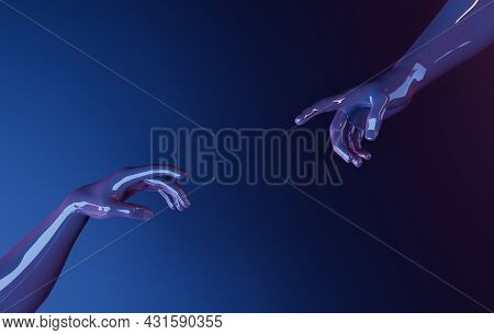 Hands Interacting To Touch Each Other In Adam's Creation Style With Neon Lighting. 3d Rendering