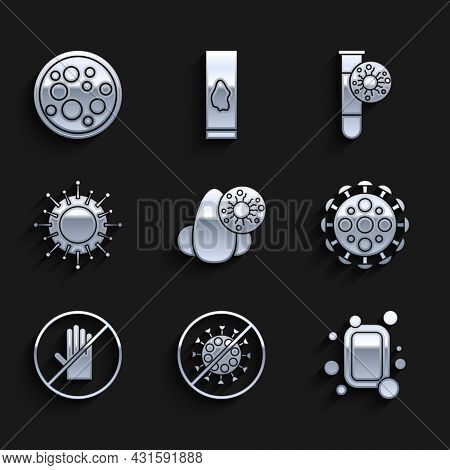 Set Runny Nose And Virus, Stop, Bar Of Soap, Virus, No Handshake, Test Tube With And Icon. Vector