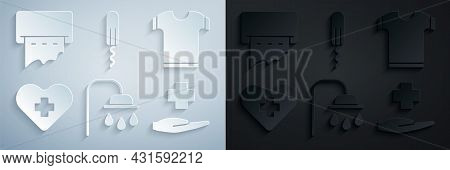 Set Shower Head, T-shirt, Heart With Cross, Cross Hospital Medical, Sanitary Tampon And Paper Towel