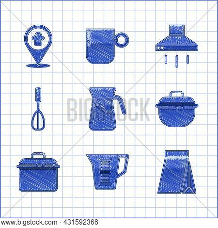 Set Jug Glass With Water, Measuring Cup, Bag Of Coffee Beans, Cooking Pot, Kitchen Whisk, Extractor