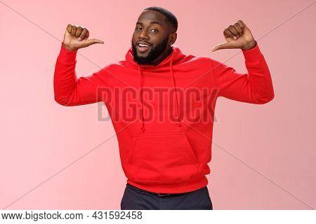 Proud Confident Arrogant Good-looking African American Bearded Male Coworker In Red Hoodie Raise Thu