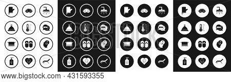 Set Shower Head, Sauna Thermometer, Hat, Mittens, Spa Salon, Lotus Flower, Yin Yang And Towel Hanger