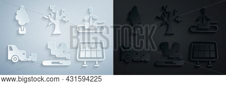 Set Cigarette, Wind Turbine, Car Exhaust, Solar Energy Panel, Withered Tree And Tree Icon. Vector