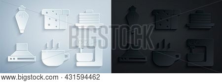 Set Coffee Cup, Stack Pancakes, Kitchen Extractor Fan, Electric Mixer, Bread Toast And Pastry Bag Ic