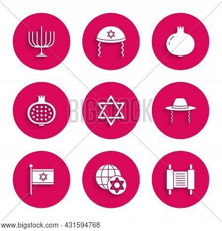 Set Star Of David, World Globe And Israel, Torah Scroll, Orthodox Jewish Hat, Flag, Pomegranate, And