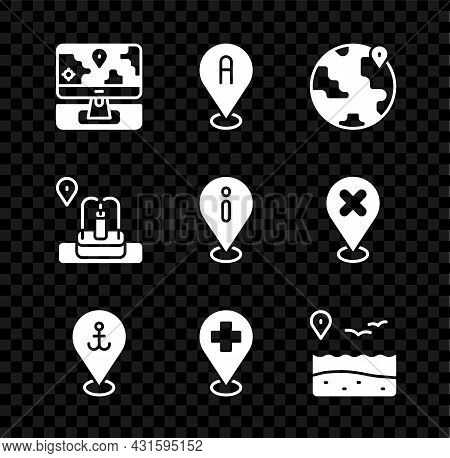 Set Monitor With Location Marker, Location, The Globe, Anchor, Medical Cross, Beach, Fountain And In