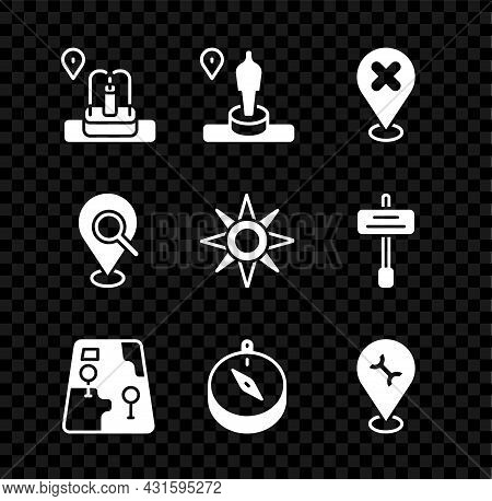 Set Location With Fountain, And Monument, Cross Mark, City Map Navigation, Compass, Car Service, Sea