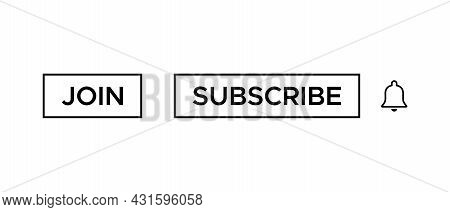 Join and Subscribe Button Icon Vector in Line Style