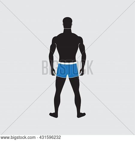 Man Silhouette With Slim Figure. An Impersonal Character In Swimming Trunks. Male Person Of Normal W