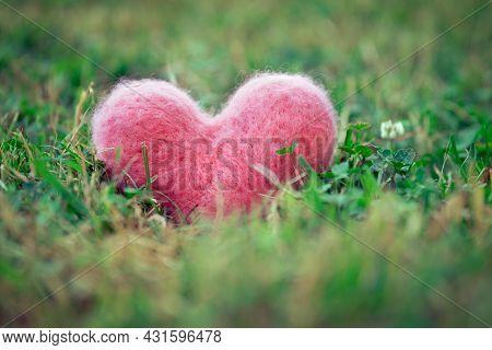 Pink Woolen Heart On The Green Grass Outdoors In Summer