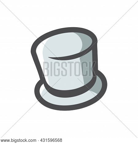 Cylinder Hat Simple Vector Icon Cartoon Illustration.