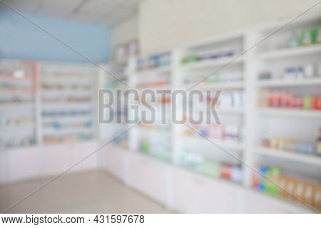 Pharmacy Drug Store Interior With Blurred Background