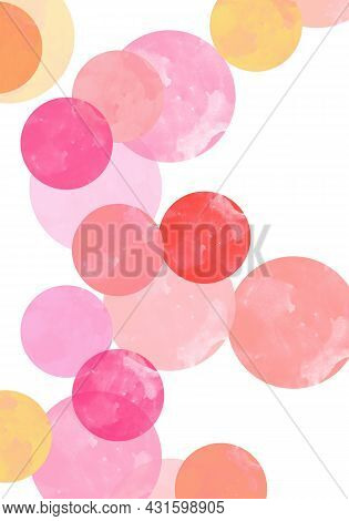 Pastel Pink, Yellow, Beige Watercolor Hand Painted Polka Dot Seamless Pattern On White Background. P