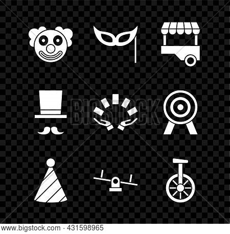 Set Clown Head, Festive Mask, Fast Street Food Cart, Party Hat, Seesaw, Unicycle Or One Wheel Bicycl