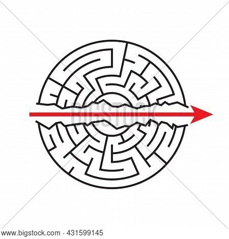 A Straight Red Arrow Goes Through The Maze. Go Ahead. Strength, Perseverance, The Mildest Path. Vect