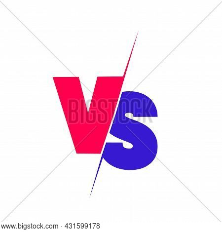Versus Sign. Red And Blue Symbol. Vector