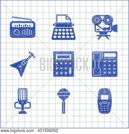 Set Calculator, Lollipop, Old Mobile Phone, Telephone Handset, Microphone, Electric Bass Guitar, Ret