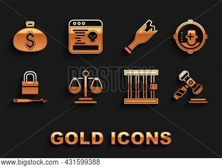 Set Scales Of Justice, Headshot, Judge Gavel, Prison Window, Lock Picks For Lock Picking, Broken Bot