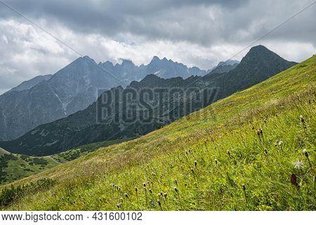 High Tatras Scenery From Medodoly, Slovakia Republic. Seasonal Natural Scene. Travel Destination.