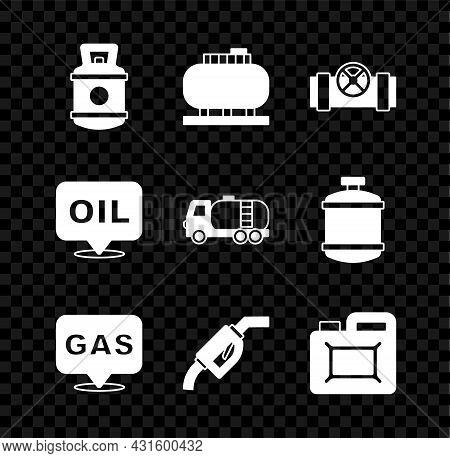 Set Propane Gas Tank, Oil Storage, Metallic Pipes And Valve, Location Station, Gasoline Pump Nozzle,