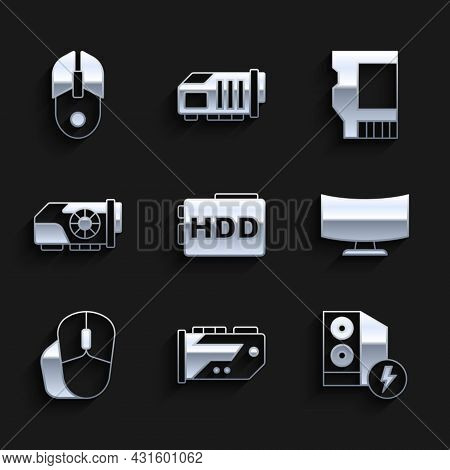 Set Hard Disk Drive Hdd, Video Graphic Card, Case Of Computer, Computer Monitor Screen, Mouse, Sd An
