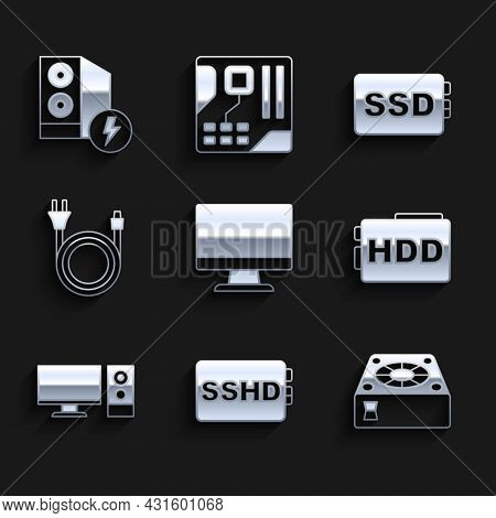Set Computer Monitor Screen, Sshd Card, Cooler, Hard Disk Drive Hdd, Electric Plug, Ssd And Case Of
