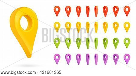Direction Or Location Marker For Map Or Gps Application. Place Of Destination Indicator Set. Positio