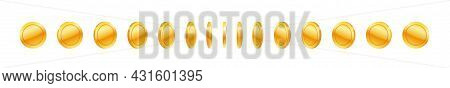 Gold Coin In Row, Set Of Blank Round Money Currency. Virtual Treasure Or E-money Symbol. Business An