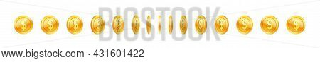 Set Of Rotating Gold Coin With Dollar Symbol For Award. Golden Money Row In Different Angle For Anim