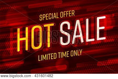 Shopping Banner Template With Special Hot Sale Offer. Discount Label, Promotion Poster, Placard Or B