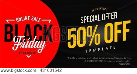 Black Friday Halved Price Online Sale Promotional Banner. Limited Time Special Offer Template For In