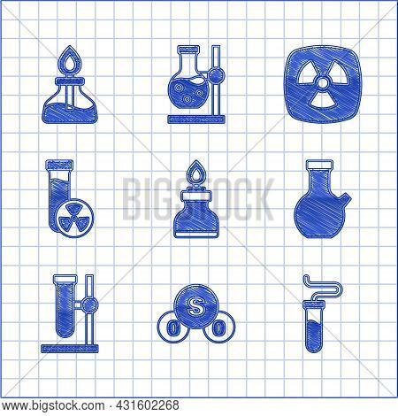 Set Alcohol Or Spirit Burner, Sulfur Dioxide So2, Test Tube, Flask On Stand, With Toxic Liquid, Radi