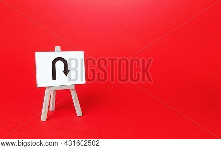 Easel With Arrow Turning Back. Change Plans, Circumstances. Avoiding Problems, Reducing Risks. Reass