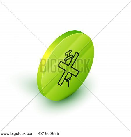 Isometric Line No Doping Syringe Icon Isolated On White Background. Green Circle Button. Vector