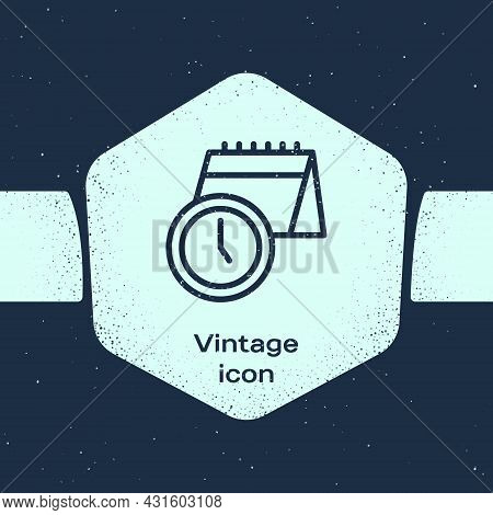 Grunge Line Calendar And Clock Icon Isolated On Blue Background. Schedule, Appointment, Organizer, T