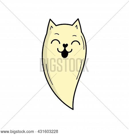 Cute Ghost Cat. Scary Ghost. Halloween Decor. Doodle Style Illustration